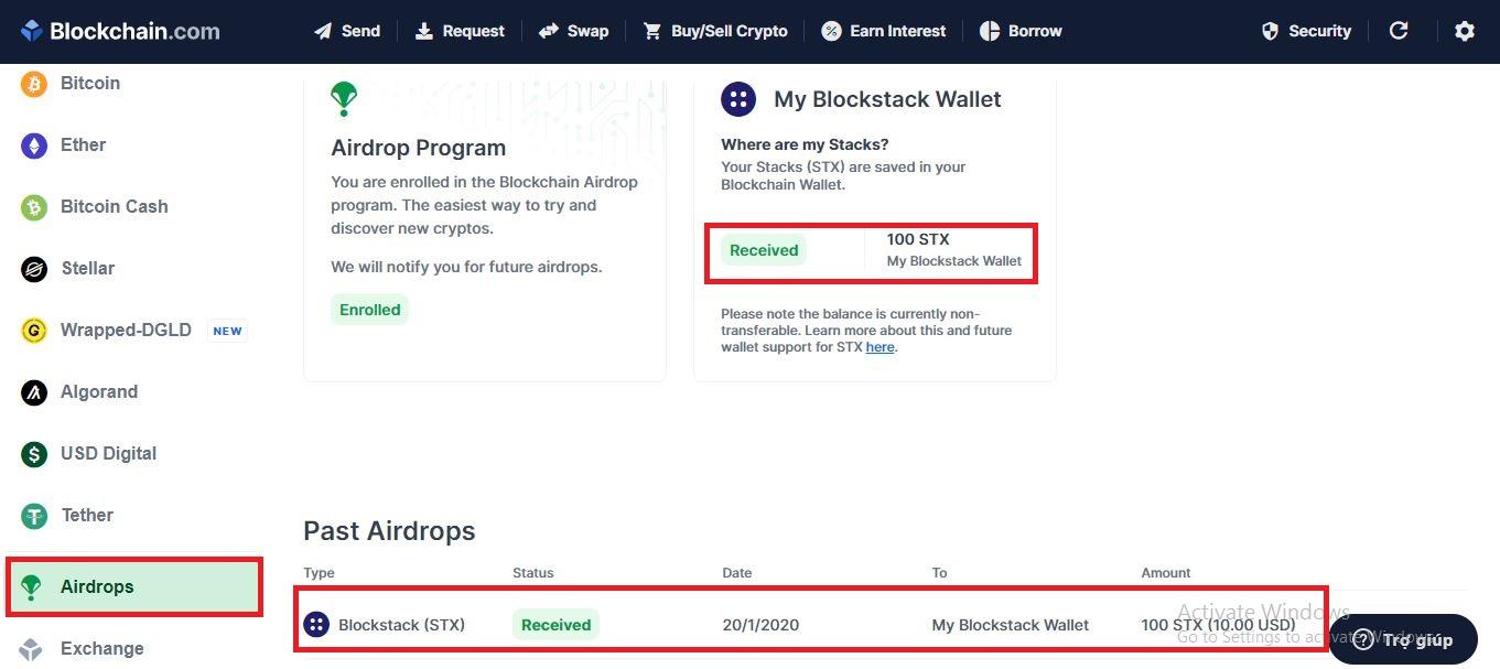 Hướng dẫn claim (nhận) stx (Blockstack) từ ví blockchain.com - syndicator